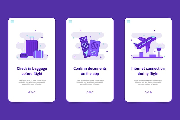 Travel onboarding application screens template