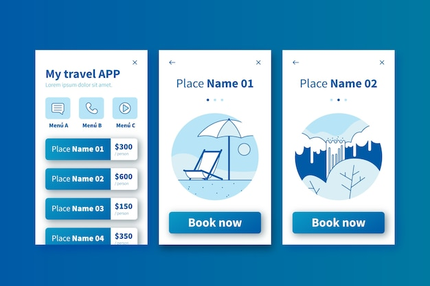 Travel onboarding application screens