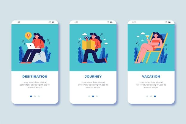 Travel online onboarding app screen