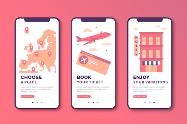 Travel online onboarding app screens collection
