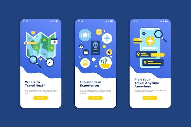 Travel online onboarding app screens (mobile phone)