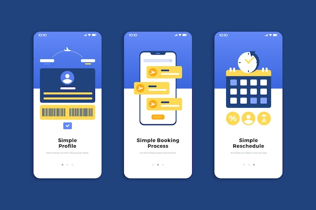 旅行オンラインのオンボーディングアプリの画面セット(携帯電話)