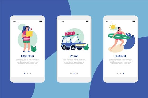 Travel online onboarding app screens