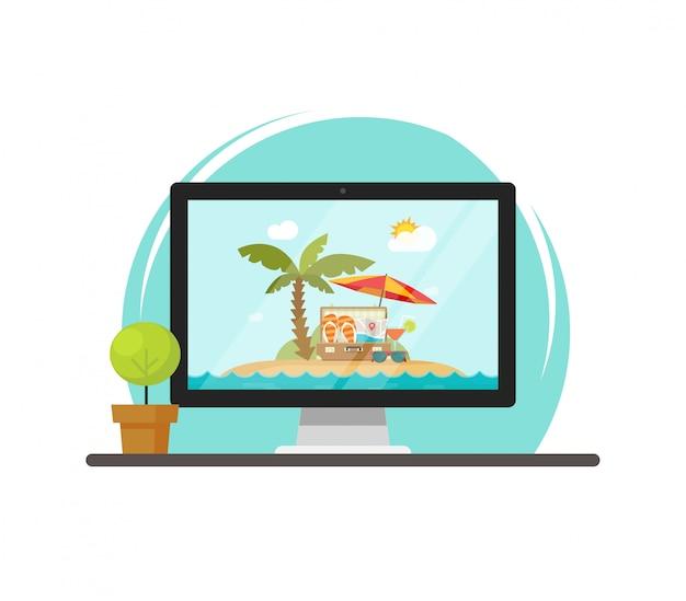 Travel online scene on computer screen or journey resort booking vector illustration flat cartoon