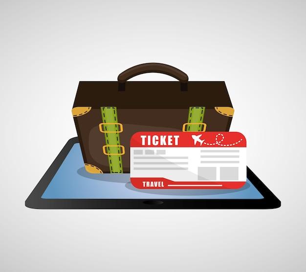 Travel online ticket airline plane suitcase