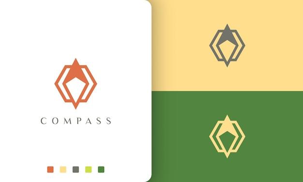단순하고 현대적인 나침반 모양의 여행 또는 모험 로고 벡터 디자인