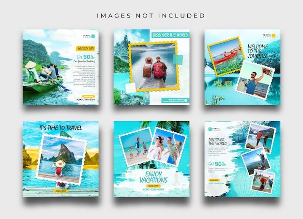 여행 또는 모험 소셜 미디어 게시물 및 배너 컬렉션