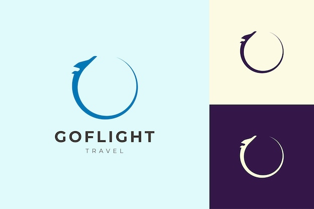 シンプルでクリーンな形の旅行や飛行機のロゴ