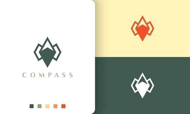 간단하고 현대적인 나침반 모양으로 여행 또는 탐색 로고 벡터 디자인