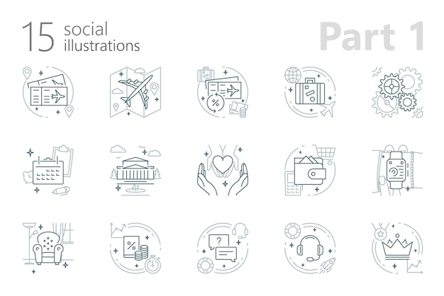 Travel outline illustrations