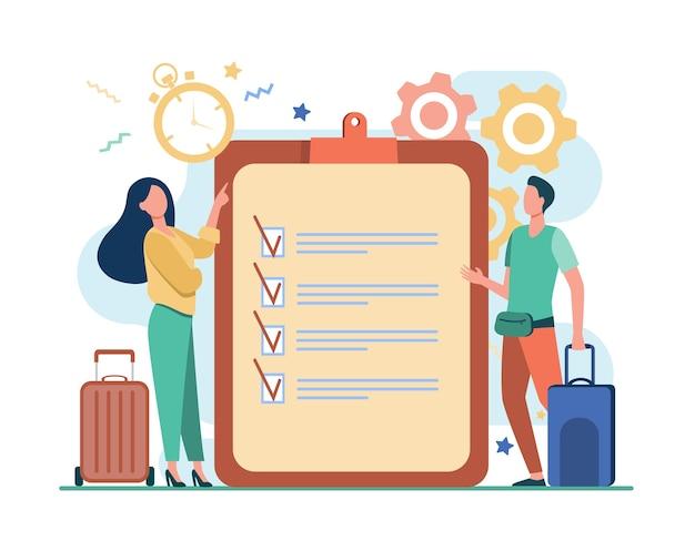 旅行パッキングリスト。チェックリストとタイマーフラットイラストに立っているスーツケースを持つ男性と女性。