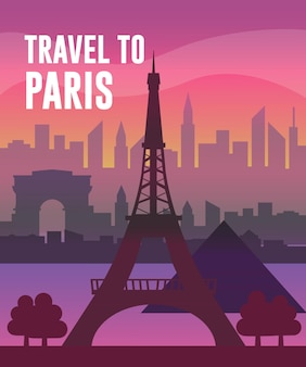 Travel in paris vector flat creative concept illustration, famous places, eiffel tower, louvre museum, triumphal arch panoramic view. for posters and covers.