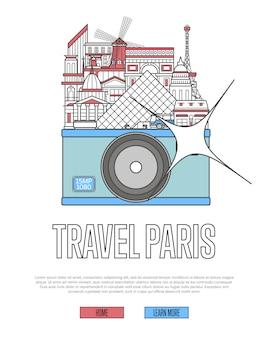 Travel paris website with camera