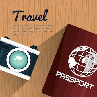 Travel passport and camera photography vacation design