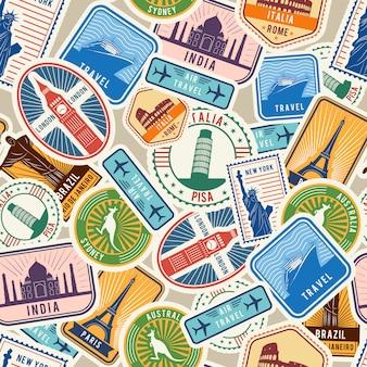 Шаблон путешествия. иммиграционные штампы, наклейки с историческими культурными объектами, виза для иммиграции, текстильный бесшовный дизайн