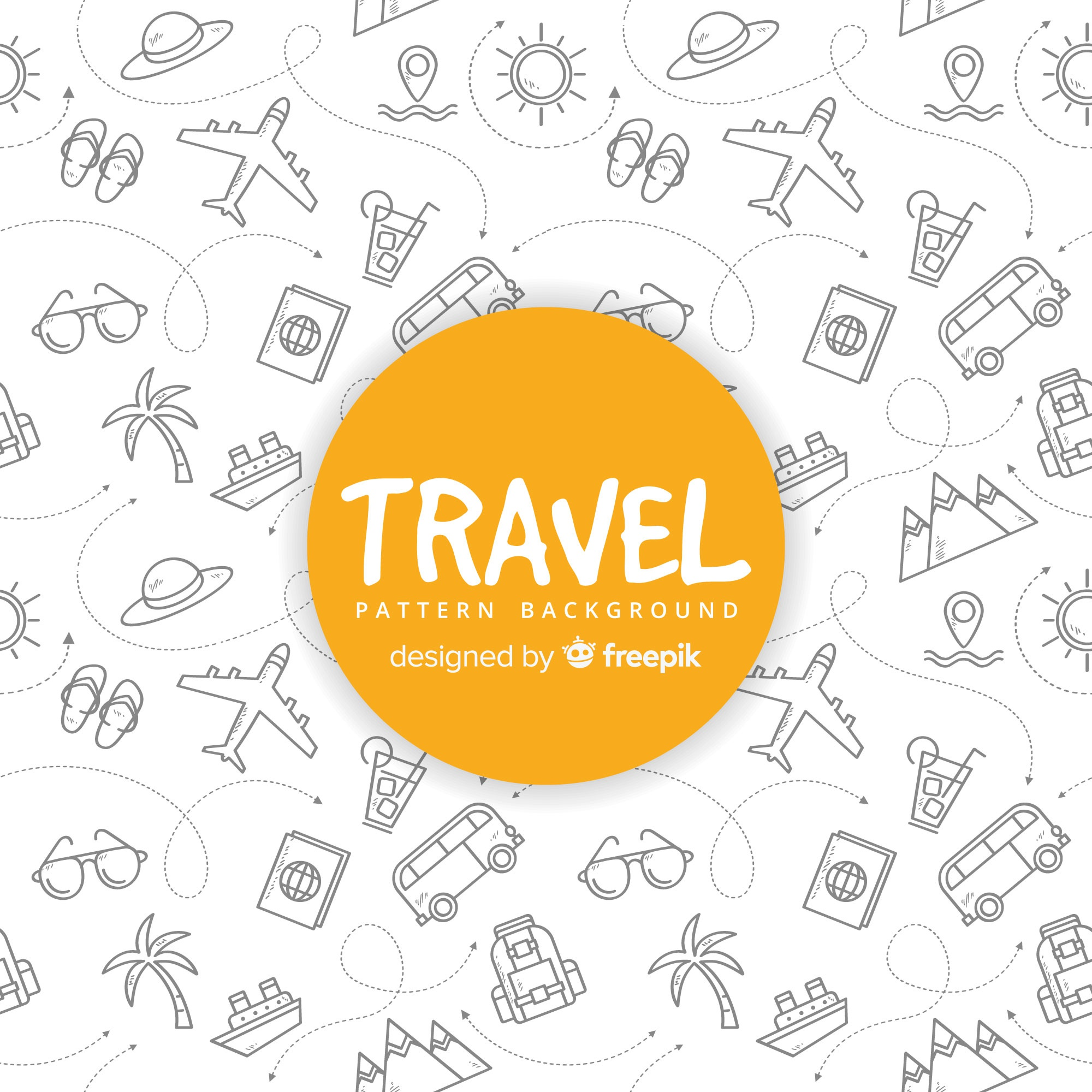 Travel pattern with elements and dash lines
