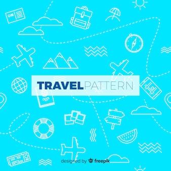 要素と破線で旅行パターン