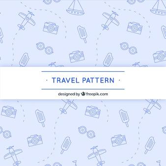 요소와 대시가있는 여행 패턴