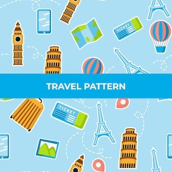 要素と破線のある旅行パターン