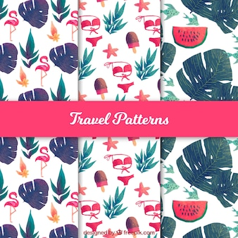 Travel patterns with tropical watercolor elements