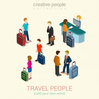 Travel people set isometric concept   illustration men and women with luggage bags, passport security control, ticket service.