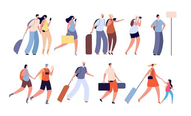 여행 사람들. 여행자 캐릭터, 카메라를 가진 사람들.