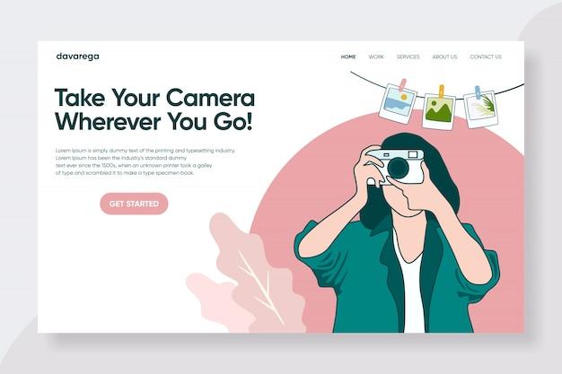 Travel photographer landing page design