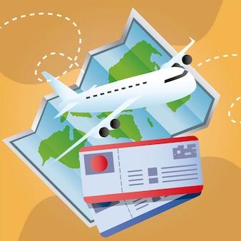Путешествие на самолет, авиабилеты и карта мира, отдых, туризм, иллюстрация
