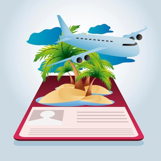 旅行飛行機熱帯島パスポート休暇観光イラスト