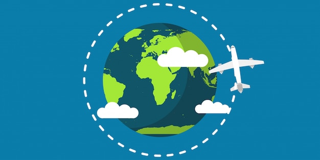 Travel plane world earth vector illustration travel map concept