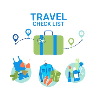 Travel planning baggage check list elements. vacancy tour concept