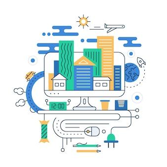 Планирование путешествия. иллюстрация современной линейной городской композиции с городскими зданиями и элементами туристической инфографики