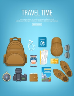 Travel planning, packing checklist. baggage, air ticket, passport, wallet, guidebook, camera, compass, headphones. top view