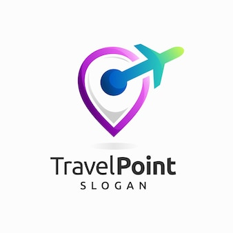 Travel point logo with pin location concept