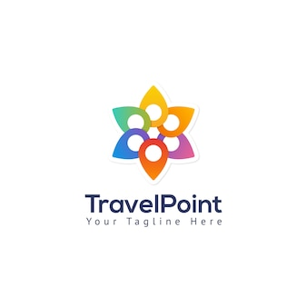Travel point map pin logo template
