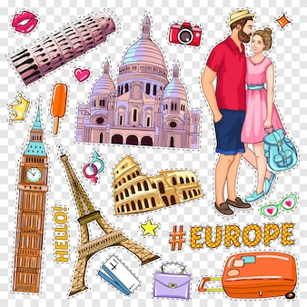 Travel pop art patches set