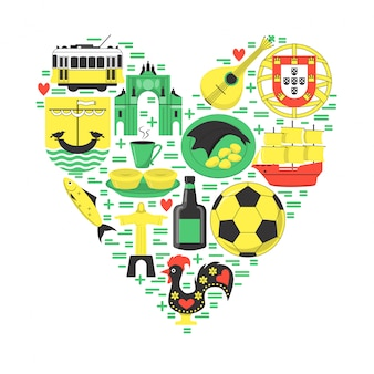Travel portugal elements on heart