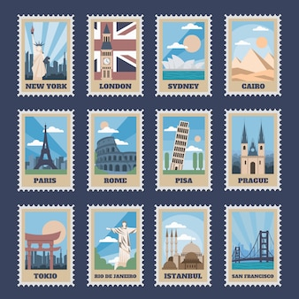 Travel postage stamps. vintage stamp with national landmarks, retro stamping postmark world attractions and most popular points of world   icon set. travel postcard with famous locations