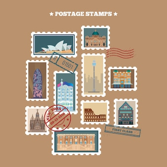 Travel postage stamps