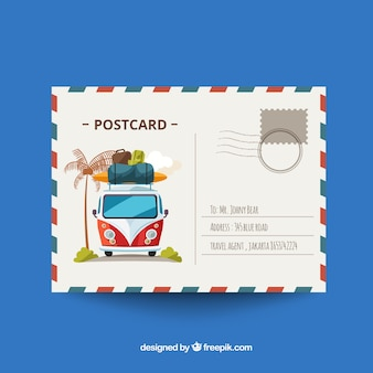 Travel postcard in flat design