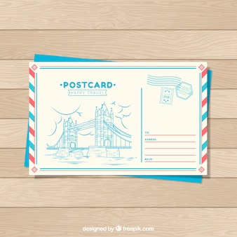 Travel postcard template in hand drawn style