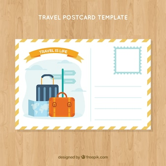 Travel postcard template wit destination