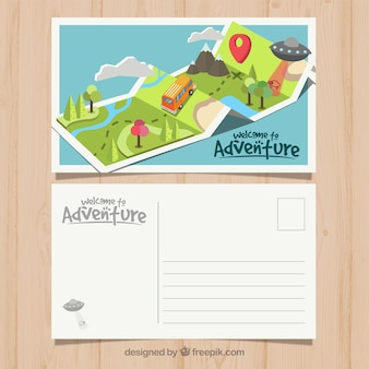 Travel postcard template with adventrure style