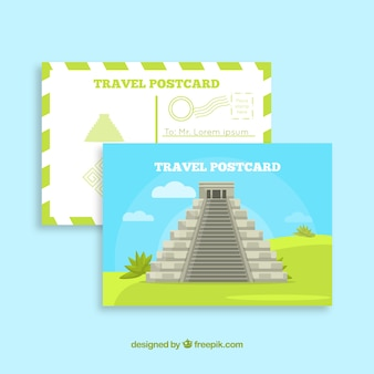 Travel postcard template with aztec pyramid