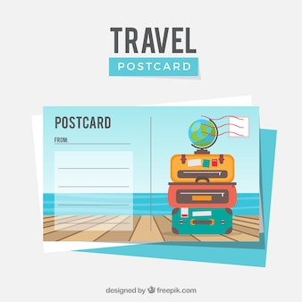 Modello di cartolina di viaggio con design piatto
