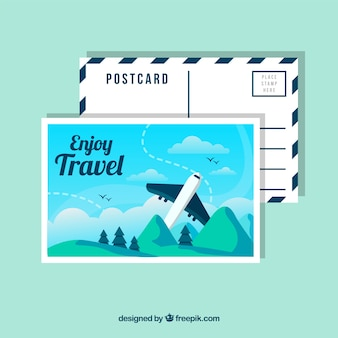 Travel postcard template with flat plane
