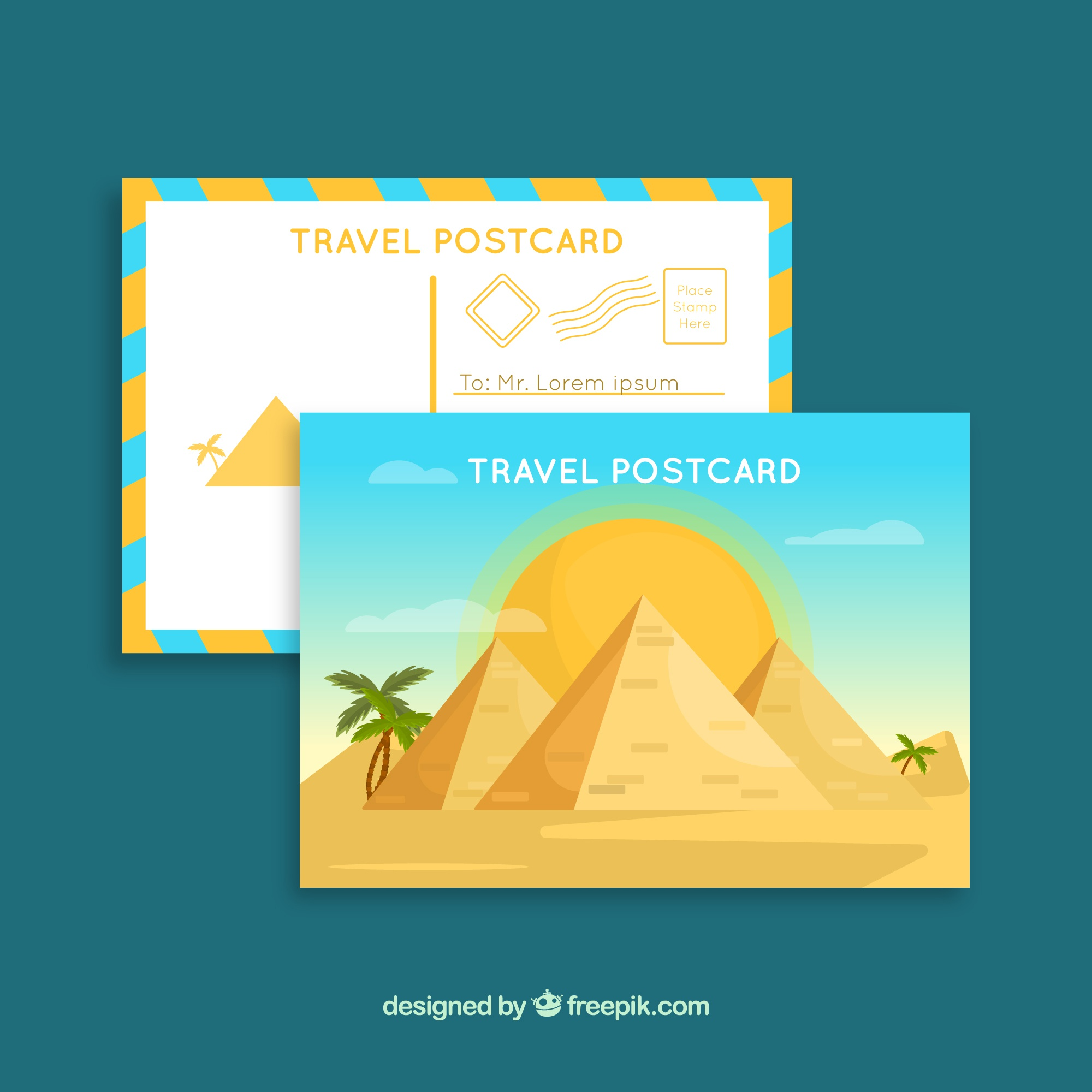 Travel postcard template with pyramids