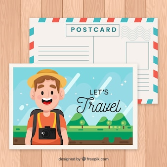 Travel postcard template with smiley character