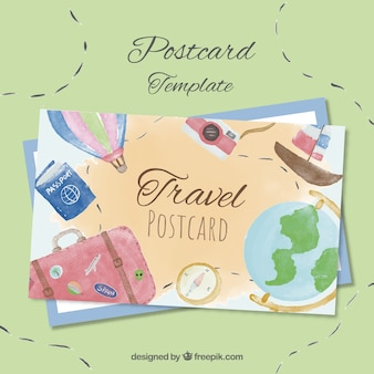 Travel postcard template with watercolor elements