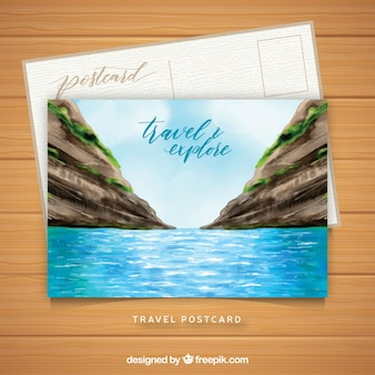 Travel postcard template with watercolor landscape